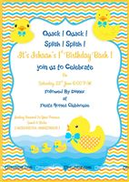 Rubber Duck theme Yellow duck party invites