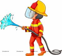 Fireman with water hose