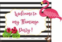 Flamingo theme - Flamingo welcome poster black stripes