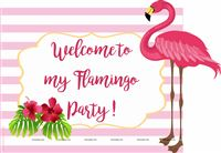 Flamingo theme - Flamingo Welcome Poster pink stripes