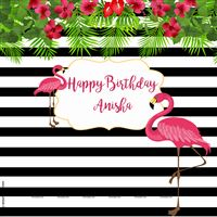 Flamingo theme - Pink Flamingo black striped backdrop