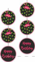 Flamingo theme - Pink Flamingo Disc Danglers Black