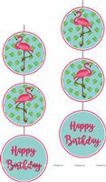 Flamingo theme - Pink Flamingo Disc Danglers Blue
