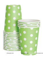 Party Supplies theme Green & White Polka Party Cups (Pack of 20)