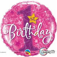 Party Supplies theme Pink 1st Birthday Foil Balloon