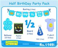 Six Month Birthday Theme Boy Half Party Kit In Blue