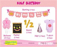 Six Month Birthday theme Pink Half Birthday party kits for a baby girl