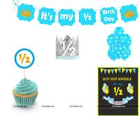Six Month Birthday theme  - Six Month Birthday theme - Six Month Birthday theme Blue Half Birthday party kit for a baby boy