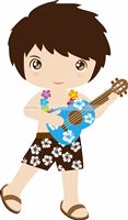 Hawaiian theme Boy with guitar poster