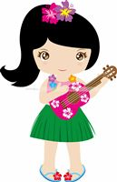 Hawaiian theme Guitar Girl poster
