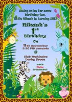 1st Birthday Invitation for Jungle/Safari theme