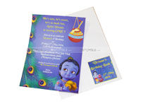 Little Krishna theme Birthday Invite with Envelope