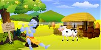 Little Krishna theme Farm scene backdrop