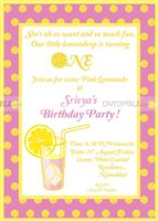 Lemonade Birthday Party  theme Lemonade Birthday Invite
