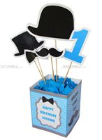 Little Man Birthday theme Blue Center Piece