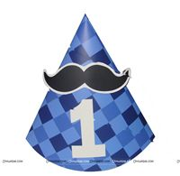 Little Man Birthday theme Blue Checked Moustache Hats