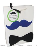 Little Man Birthday theme Dark Blue with Bow Tie Gift Bags