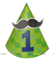 Little Man Birthday theme Moustache Hats (Green)