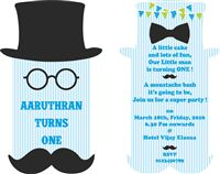 Little Man theme Mustache 1st Birthday invitations