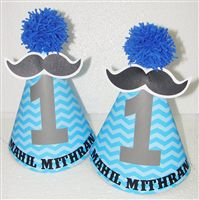 Little Man theme 1st Birthday Hats with pompoms