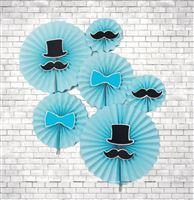 Little Man theme  - Little Man paper fan decorations