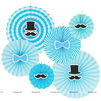 Little Man paper fan decorations