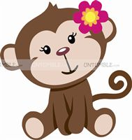 Monkey theme  - Little Monkey Girl Cutout