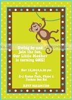 Monkey theme  - Monkey hanging Invite
