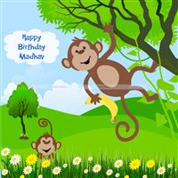 Monkey on a tree Backdrop - Monkey