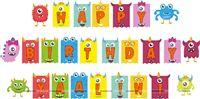 Happy Birthday Banners - Monster Theme Party Supplies