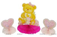 Pink Baby Shower theme Baby Girl Teddy Centerpiece