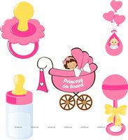 Pink Baby Shower theme Posters pack of 5