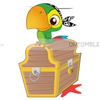Pirate birthday theme Parrot with treasure chest poster