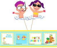 Pool Party theme  - Pool Party Centerpieces