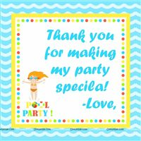 Pool Party theme  - Pool Party Thank you notes