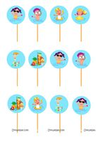 Pool Party theme Pool theme cup cake toppers