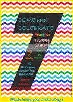 Rainbow theme Rainbow colored stripes number invite