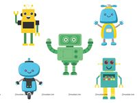 Posters pack of 5 - Robot Theme Party Supplies