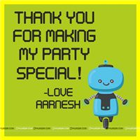 Robot Party Supplies theme Robot Thank you cards
