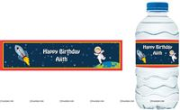 Water bottle wrappers - Space theme birthday party supplies