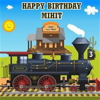 Choo choo train birthday backdrop
