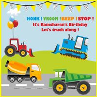 Trucks Birthday Party theme Truck Party Backdrop