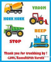 Construction theme Truck theme birthday party cards