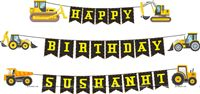 Happy Birthday Banners - Construction theme birthday party supplies
