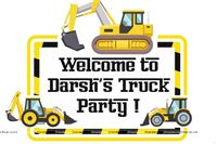 Trucks Birthday Party theme Entrance Poster