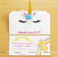 Unicorn theme - Gold Unicorn horn Invitations