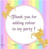 Thank you cards - Unicorn themed birthday party supplies & decorations