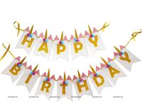 Happy Birthday Banners - Unicorn themed birthday party supplies & decorations