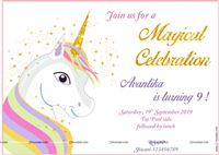 Rectangular Invitations - Unicorn themed birthday party supplies & decorations