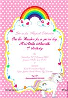 Unicorn theme - Rainbow Unicorn birthday invitations (Pack of 10)